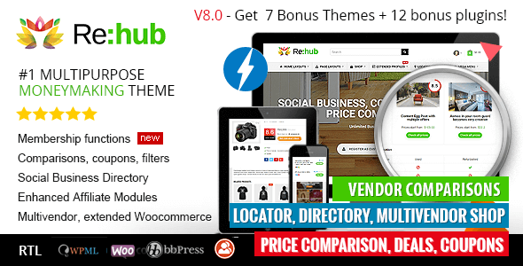 REHub — Price Comparison, Affiliate Marketing, Multi Vendor Store, Community Theme